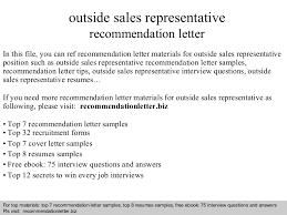 cover letter for a sales position outside sales representative recommendation letter