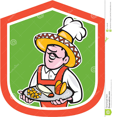 cartoon sombrero mexican chef cook shield cartoon stock vector image 41143249