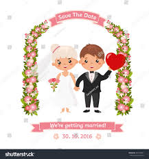 wedding invitation funny couple flowers arch stock vector