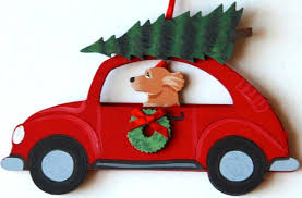 golden retriever hippie car ornaments for the