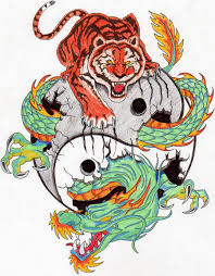 colorful tiger and dragon tattoo design tattoomagz