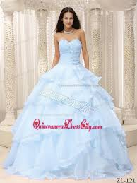 baby blue quinceanera dresses ruching bodice made flowers decorate waist for quinceanera