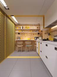 kitchen industrial yellow kitchen design nice light striped wood