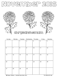 printable november calendars holiday favorites
