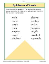 syllable and vowel worksheet phonics worksheets