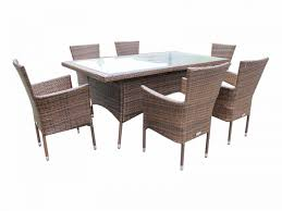 6 rattan garden chairs and rectangular table set in chocolate and