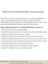 Resume Sample Yale by Top8accountingadministratorresumesamples 150516011045 Lva1 App6892 Thumbnail 4 Jpg Cb U003d1431738694