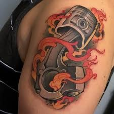 flaming piston tattoo best tattoo ideas gallery