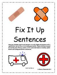 fix it up sentences capital letters and ending punctuation by