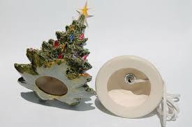 ceramic christmas tree with lights simple vintage tabletop