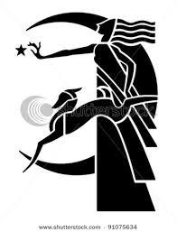 deco moon goddess with retro clipart illustration