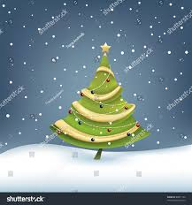 decorated christmas tree on snow background stock vector 88071160