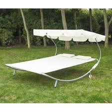 double hammock sun bed lounger chaise w canopy and wheels garden
