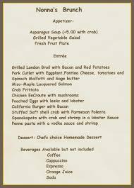 menu for brunch menu for sunday brunch