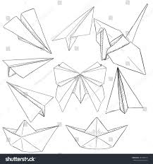 vector set paper objects plane boat stock vector 447449314