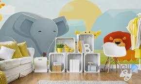 Cartoon Elephant Lion Nature Flora Entire Kids Room Wallpaper Wall - Kids room wallpaper murals