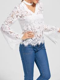 white lace blouses 2018 flare sleeve choker neck lace blouse white m in blouses