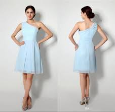 light blue short bridesmaid dresses one shoulder knee length