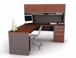 Bestar Desk Bestar Connexion L Shaped With Hutch Workstation Kit In Bordeaux