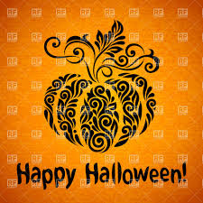 happy halloween banner with ornate pumpkin vector image 29302
