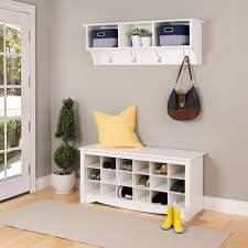 furniture entry way with white wooden coat rack and open shelf