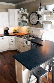 Kitchen Counter And Backsplash Ideas by Kitchen Love Black Granite Counter Tops White Subway Tile