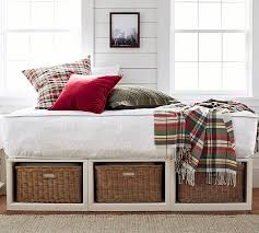 Daybed With Bookcase Headboard Stratton Storage Platform Daybed With Baskets Pottery Barn
