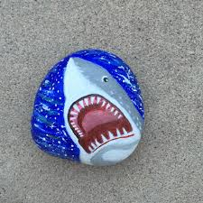 Painted Rocks For Garden by Shark Painted Rock Shark Art Shark Painting 3d Painting