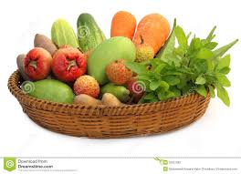 fruit and vegetable baskets tropical fruits and vegetables on a basket stock photography