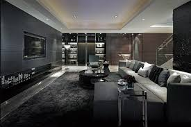Modern Black Rug Grey Accent Wall Living Room Combined By White Grey Sofa And