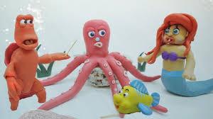Seeking Octopus Baby Ariel And Flounder Play Hide And Seek Play Doh