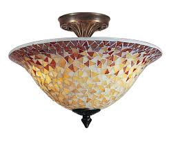 Flush Ceiling Light Fixtures Tiffany Tm100552 Cassidy Mosaic Semi Flush Mount Ceiling Light Fixture