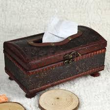 retro wooden rectangular paper cover case tissue box napkin holder