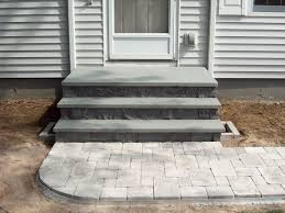 Unilock Brussels Block Patterns by Back Porch Landing Ideas Steps Plantings And Brussels Block