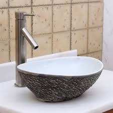 elite 1574 oval gray and white porcelain ceramic bathroom vessel