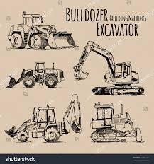excavator bulldozer building machines set hand stock vector