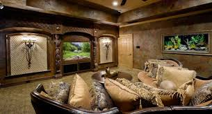 elegant living room in brown shade with built in medium aquarium