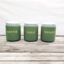 enamel kitchen canisters vintage 40 s canisters set 3 mint green enamel coffee sugar