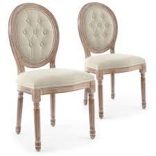 chaise capitonné lot de 2 chaises de style médaillon louis xvi bois patiné tissu
