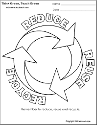green coloring page coloring page think green reduce reuse recycle circle abcteach