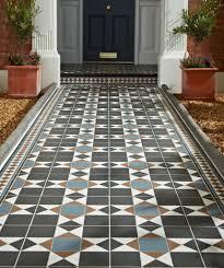 Victorian Mosaic Floor Tiles Grosvenor Black Blue Tile Topps Tiles
