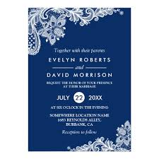 formal invitations lace navy blue white formal wedding card zazzle