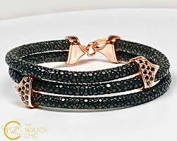 swarovski crystal leather bracelet images Stingray black leather bracelet with black swarovski crystals jpg
