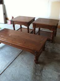solid oak coffee table and end tables rescued renewed old dark wood coffee table and end tables