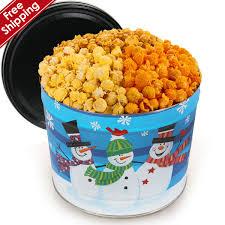 whimsical snowmen gourmet popcorn tin flowerica brand flowers