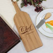 personalized kitchen items engraved chef wine bottle carving board personalized kitchen