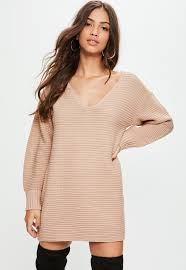 sweater dress v front knitted sweater dress missguided