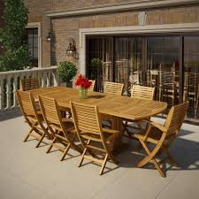 9 piece eucalyptus patio set outdoor artika