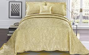 Gold Quilted Bedspread Amazon Com Serenta Quilted Satin 4 Piece Bedspread Set Queen