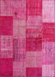 rugsville vintage turkish over dyed patchwork festival fuschia rug